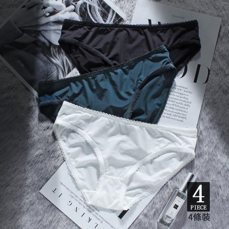 夏季冰丝内裤女冰丝无痕底裤蕾丝透气性感低腰三角裤纯色白色黑色