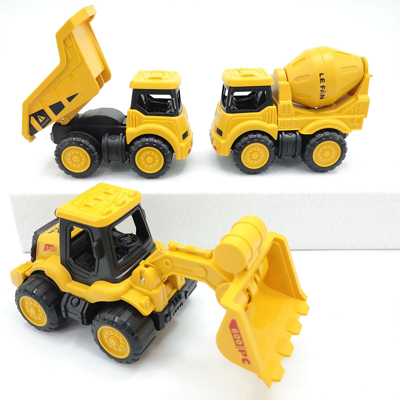 儿童工程车玩具车惯性搅拌运输车男孩耐摔翻斗小号蛋糕摆件挖掘机