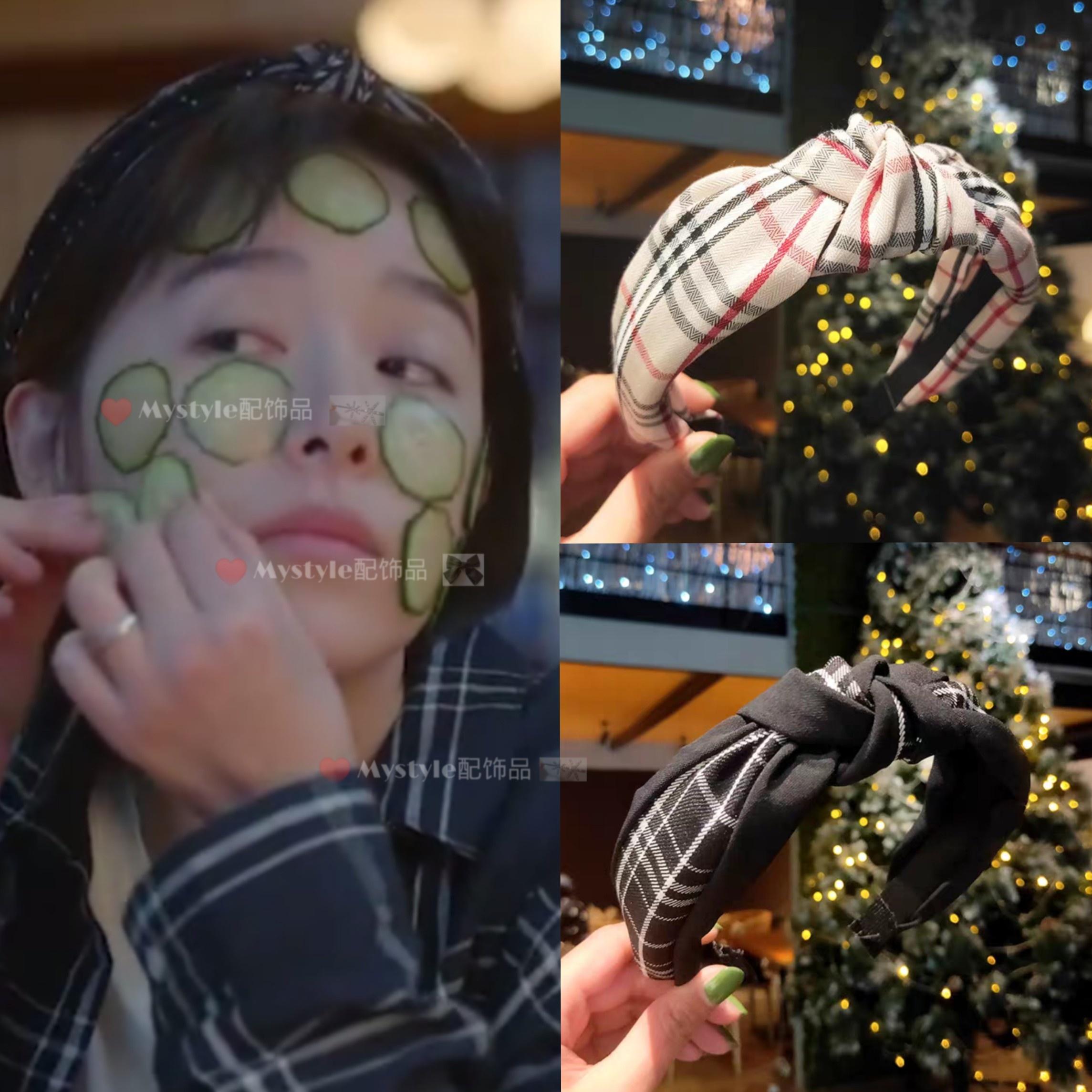 亲爱的自己张芝芝同款发箍女阚清子格子打结压发卡法式复古发带饰