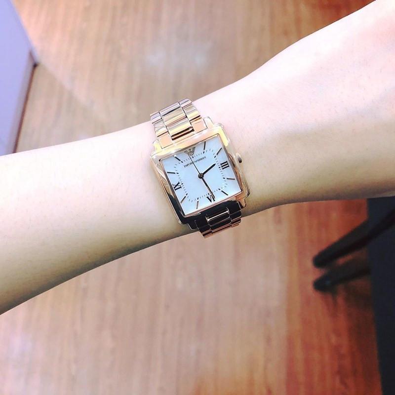 Armani阿玛尼手表女 时尚防水气质玫瑰金方形女士手表AR11177