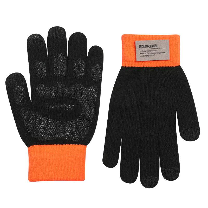 秋冬季保暖手套男士可触屏户外开车骑行防滑学生加绒毛线针织潮女