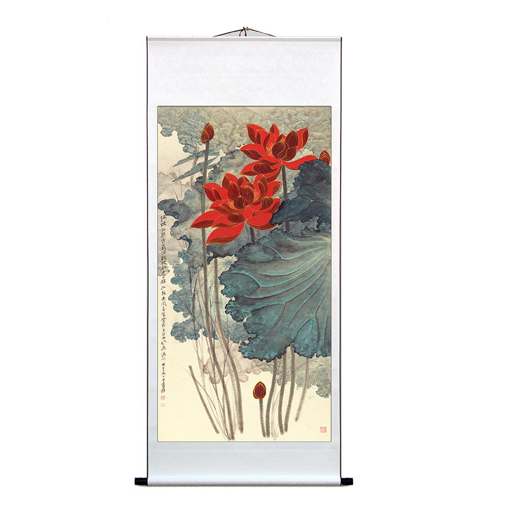 新中式玄关水墨画国画山水画字画装饰卷轴挂画名画张大千荷花礼品