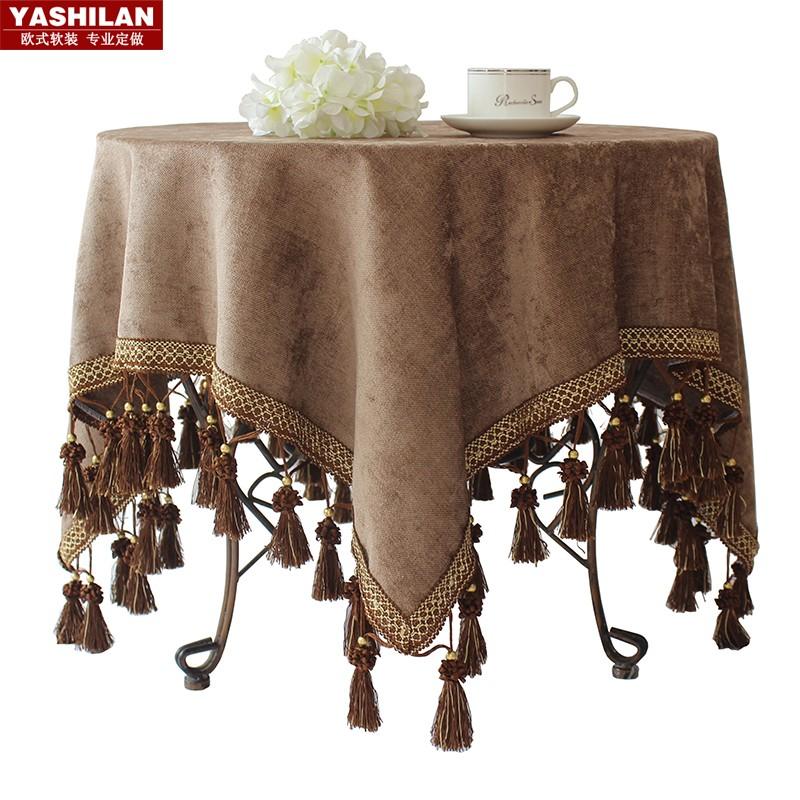 咖色歐式高檔奢華圓桌布大小圓形檯布酒店會議美式餐桌布布藝棉麻