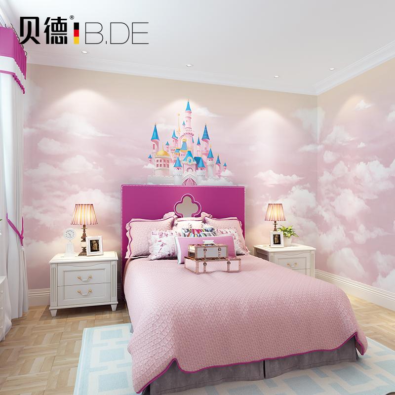 儿童房壁纸壁画男孩女孩卡通卧室墙纸粉色城堡全房温馨梦幻无纺布