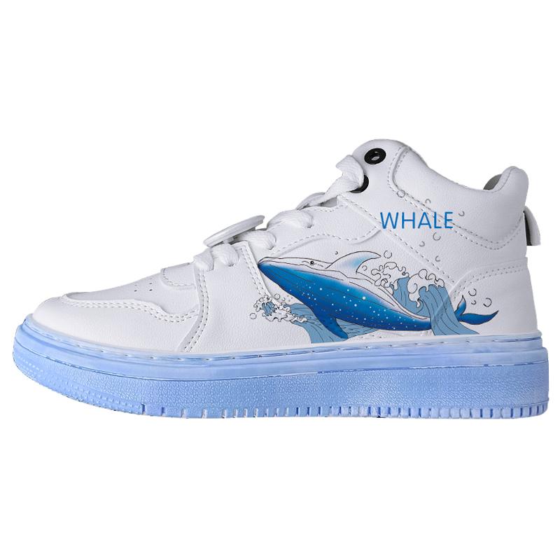 回力男鞋高帮空军一号鲸鱼联名涂鸦手绘爆改冬季保暖休闲小白板鞋
