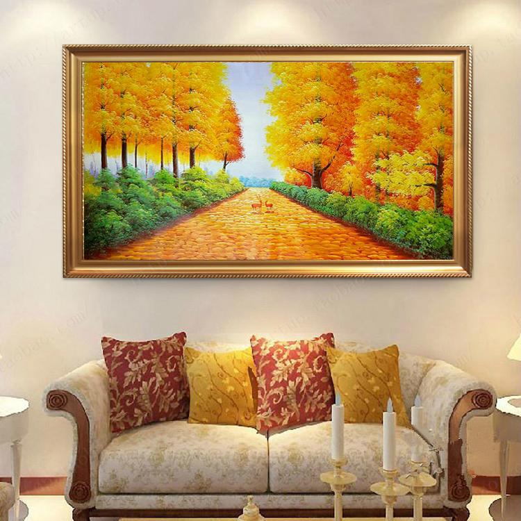黃金大道客廳裝飾畫現代簡約玄關掛畫餐廳壁畫純手繪風景油畫墻畫