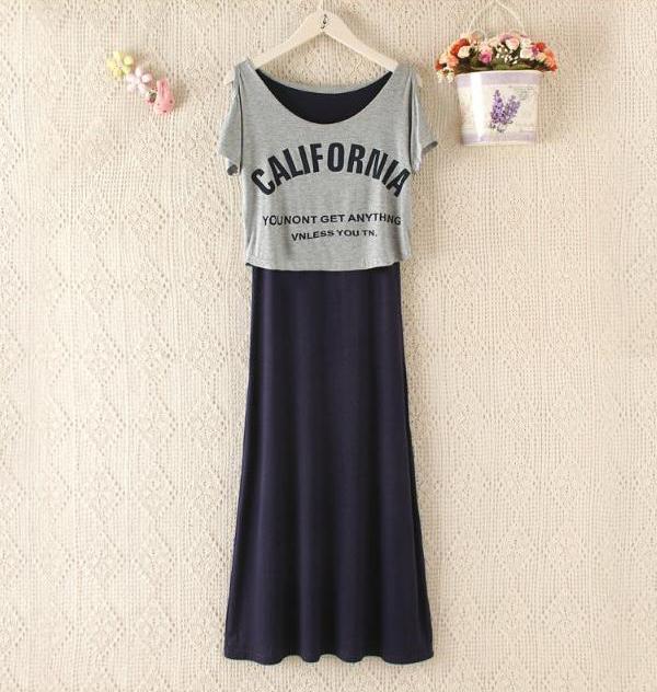 孕妇夏装莫代尔连衣裙长款大码外出哺乳裙上衣假两件潮妈喂奶长裙