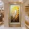 手绘油画发财树立体客厅玄关走廊挂画现代装饰画竖版有框欧式壁画