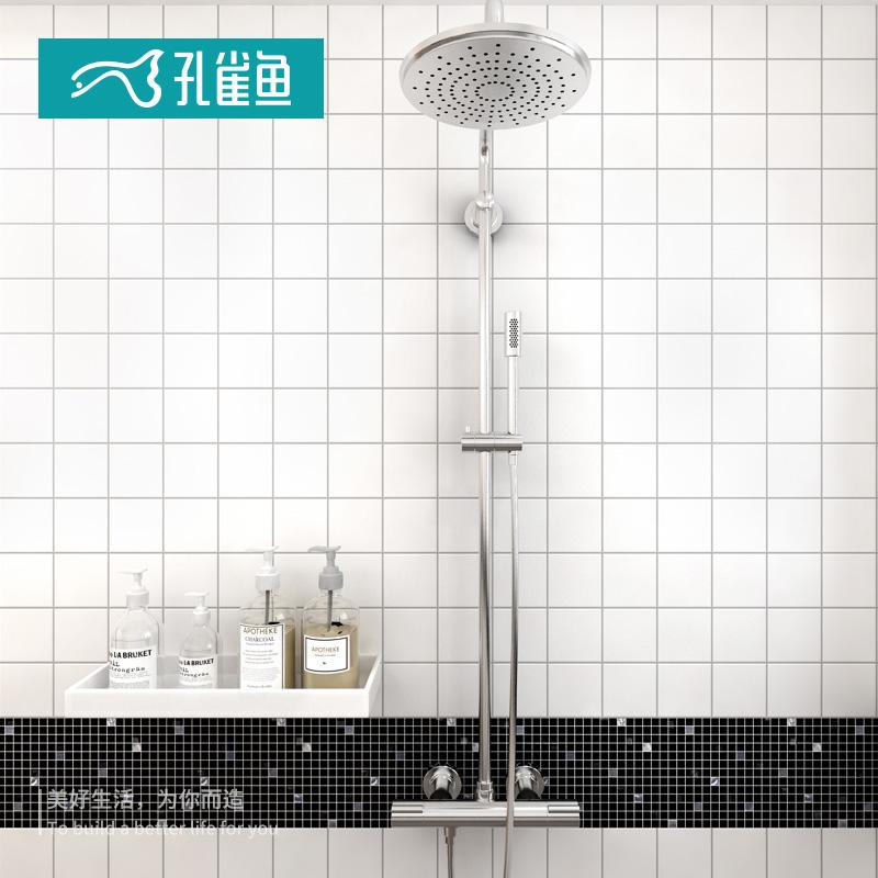 孔雀鱼北欧ins网红九宫格小白砖马赛克瓷砖厨房卫生间浴室墙地砖