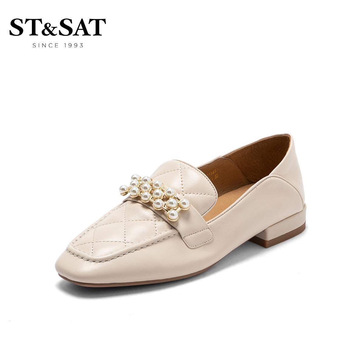 SS13111147 秋新方头低跟珠饰奶油鞋女鞋子 2021 星期六乐福鞋 直