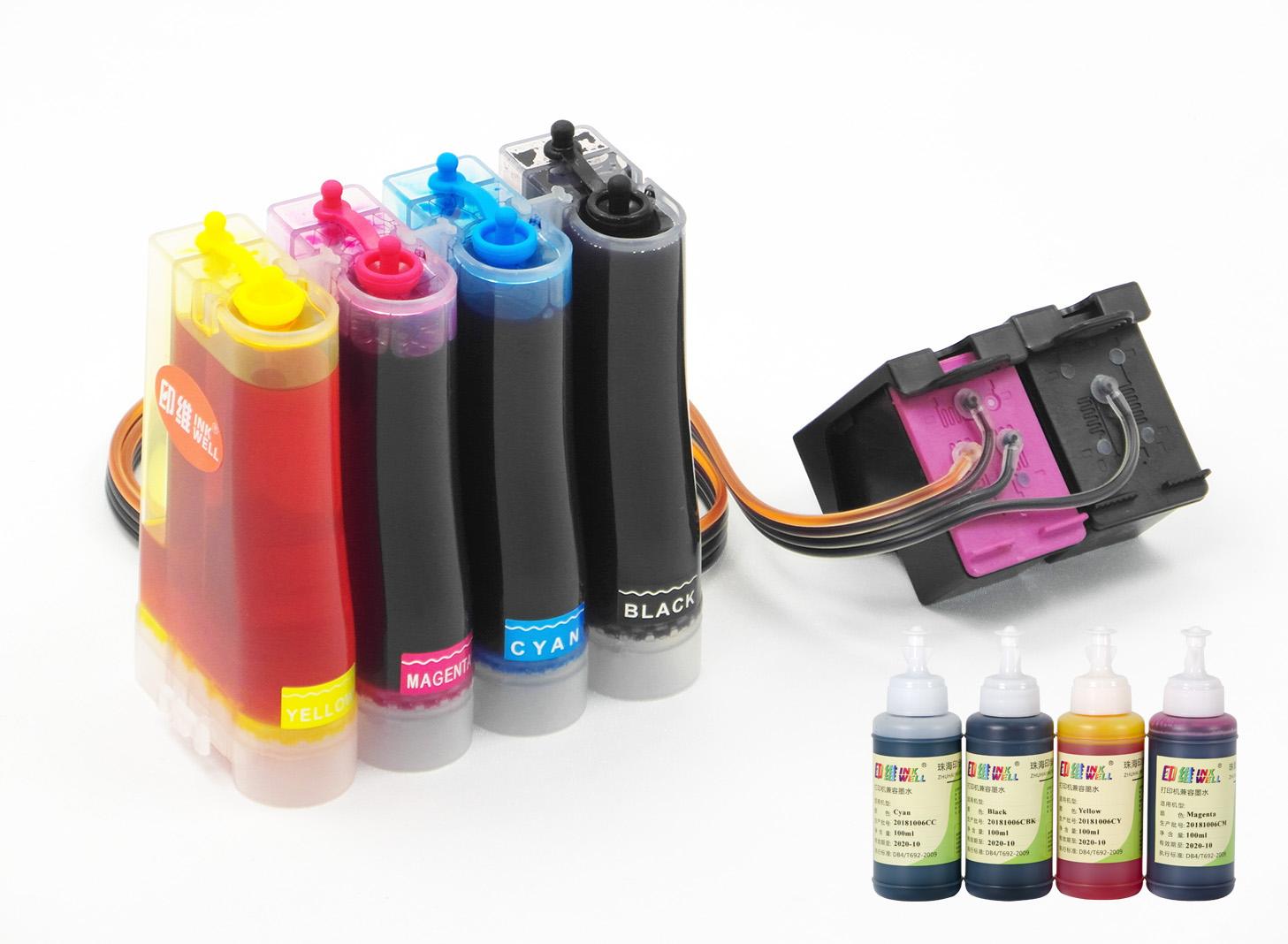 兼容803xl墨盒惠普连供2132彩色黑色HP 2621 2622 2623 2131 2132 1112 1111改打印机联供改装供墨系统连供