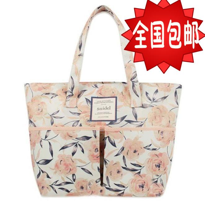 包郵熱賣日本雜誌款復古花朵單肩手提包女式包購物袋有拉鍊可批