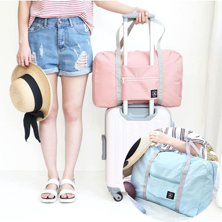 韓版摺疊手提旅行包女拉桿防水行李袋收納袋大容量出差短途單肩包