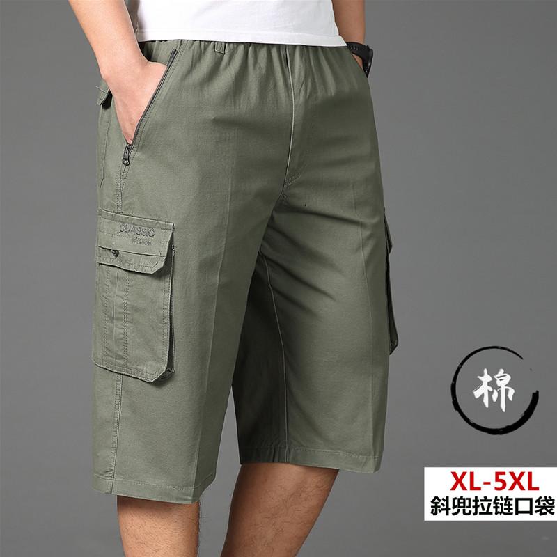 夏季青年休闲七分裤男棉多口袋工装裤运动裤中年大码短裤男装中裤