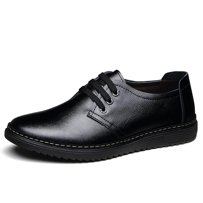 春季男鞋皮鞋2018新款男英伦商务男士休闲鞋青年黑色鞋子男真皮