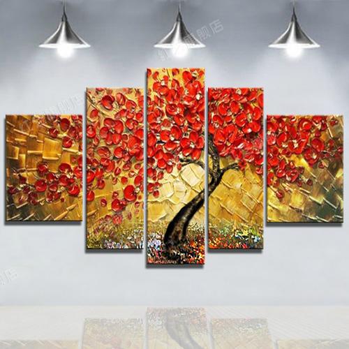 純手繪油畫客廳壁飾背景墻組合裝飾畫歐式立體抽象手工畫發財樹