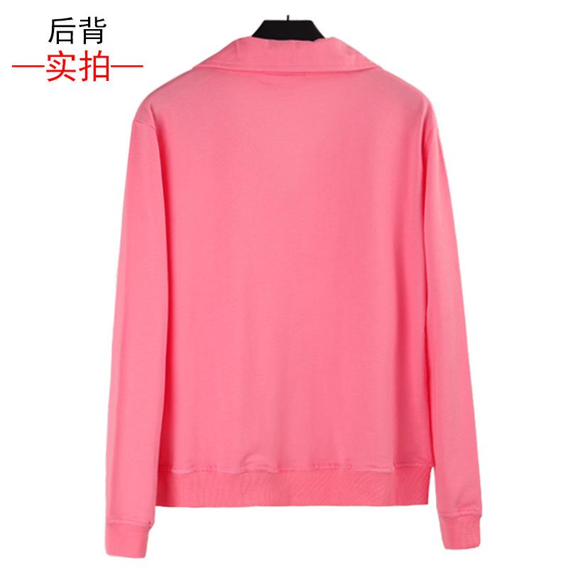 纯棉薄款卫衣2021春秋新款女立领开衫长袖大码上衣外套外衣运动衣主图