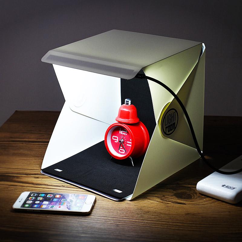 迷你摺疊攝影棚 簡易便攜拍照LED柔光箱拍攝臺 小型攝影箱26*28CM