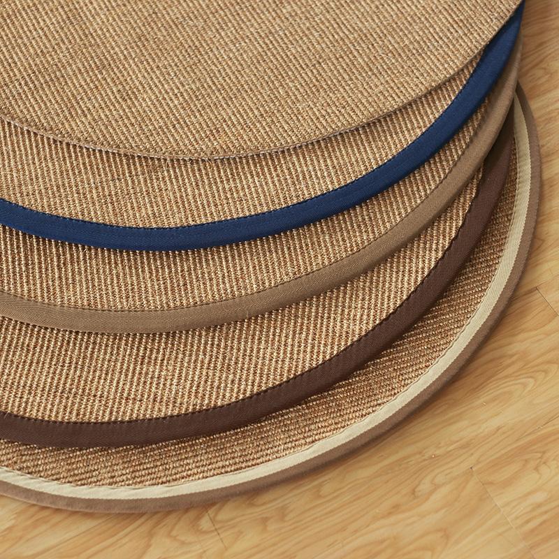 圓形劍麻草編轉椅墊兒童房地毯現代簡約手工縫邊美式環保防滑按摩