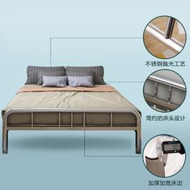 304不锈钢床1.2米1.5米 1.8米公寓出租房卧室加厚钢丝床铁艺床架