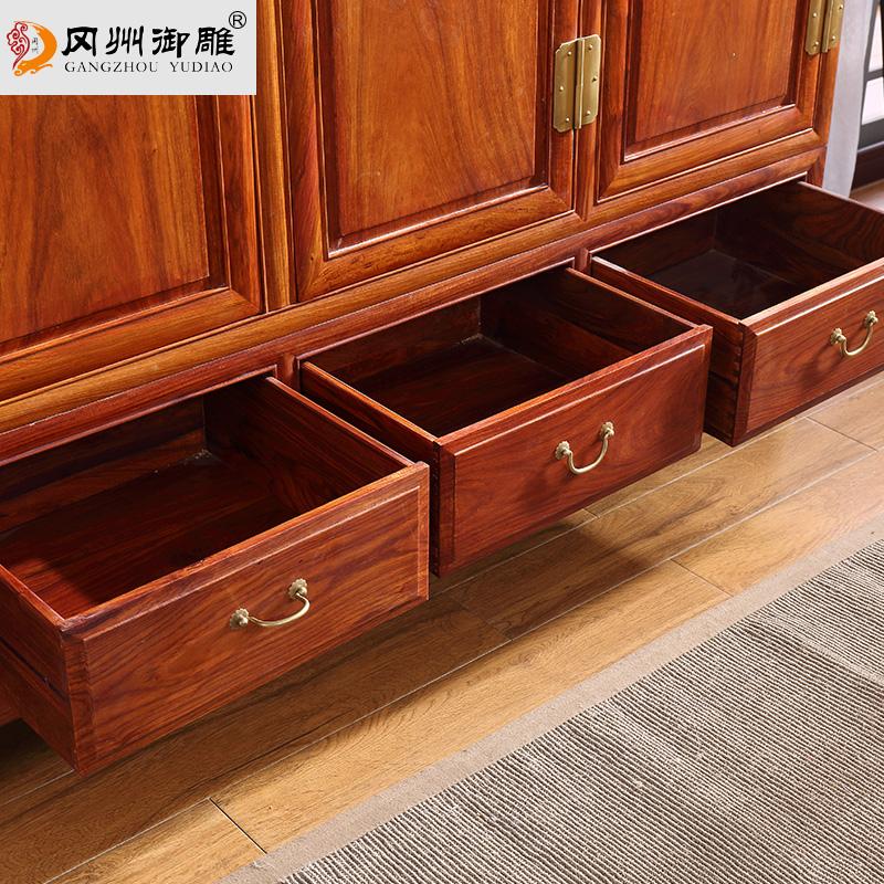 冈州红木顶箱柜花梨木刺猬紫檀实木储物柜三门大衣柜橱卧室家具
