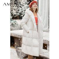 Amii时尚爆款黑色羽绒服女2019冬新款加厚长款过膝白色面包服外套 (¥700(券后))