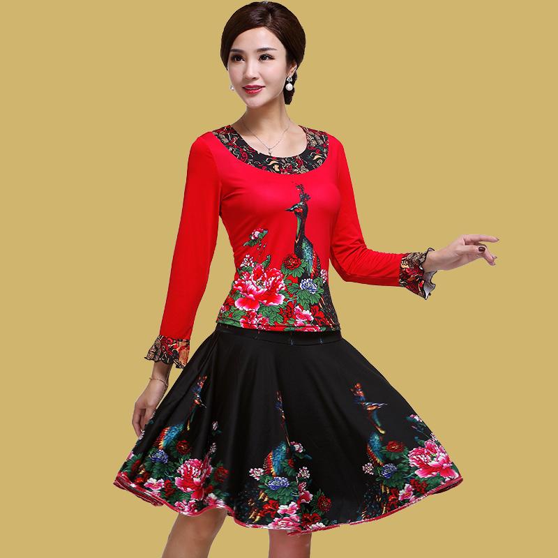艳王2018广场舞服装套装新款秋冬长袖裙裤中老年成人舞蹈服两件套