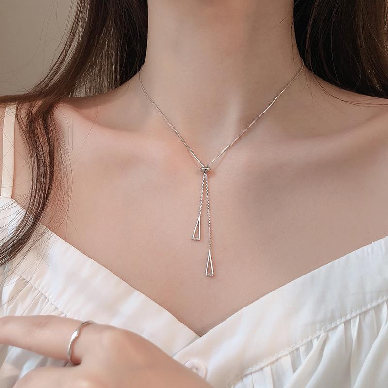 银几何三角抽拉项链女简约设计感小众气质冷淡风锁骨链韩版 s925