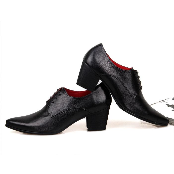 新款韓版青春豹紋高跟尖頭皮鞋 英倫風透氣男鞋子 時尚潮流增高鞋