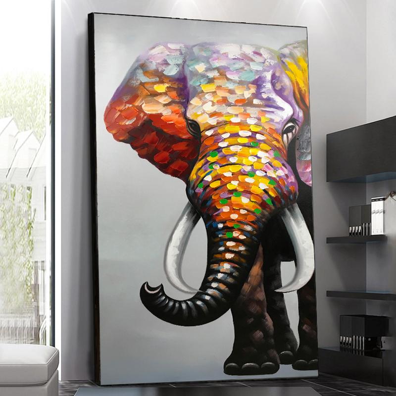 手工油畫大象豎版現代簡約入門過道掛畫入戶玄關裝飾畫墻壁畫墻畫