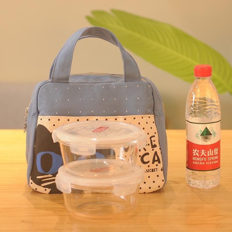 袋子便当包手提 日系学生午餐饭盒袋帆布包小拎包女士装午饭带饭