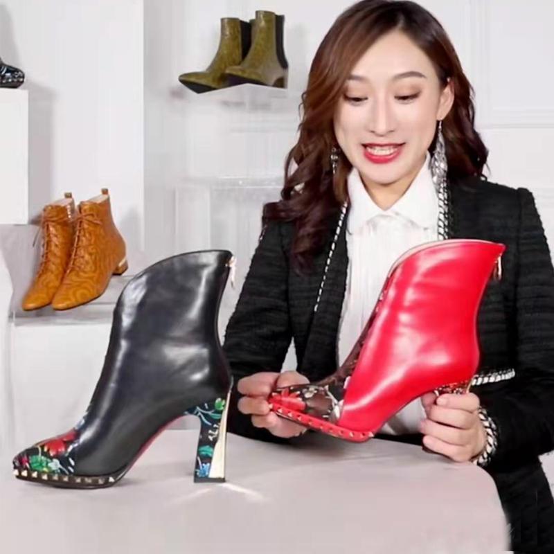 修足时尚真皮印花中国民族风红色超高跟尖头铆钉短筒短靴女马丁靴