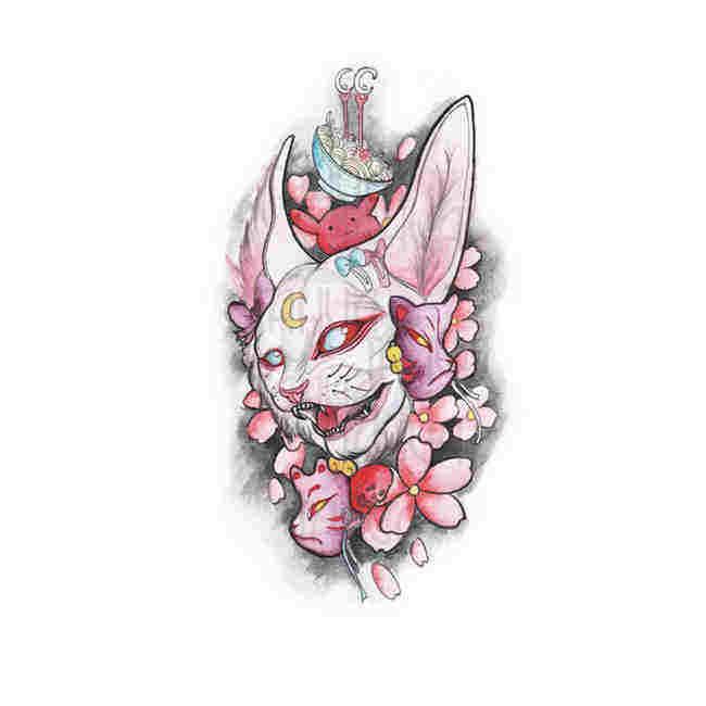 她画浮世绘花臂纹身贴网红款洗不掉的男防水持久女潮纹身贴纸