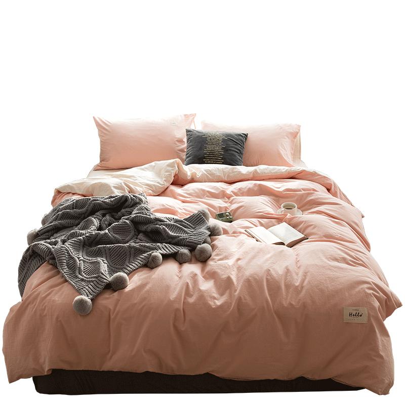 紫羅蘭水洗棉四件套全棉純色混搭北歐風天竺棉簡約床單款純棉被套