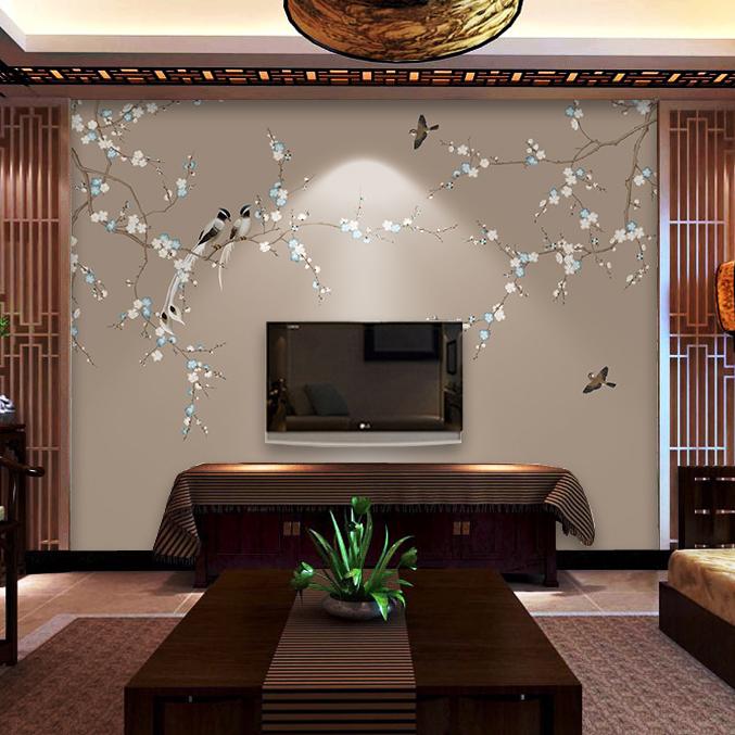 电视机背景墙壁纸无纺布墙纸 壁画中国风美式简约壁纸影视墙定制