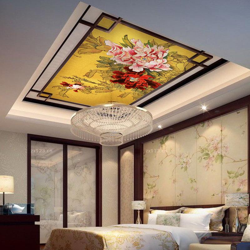 臻心3d立体个性天花板圆形吊顶灯池壁画中式顶面背景墙纸布牡丹