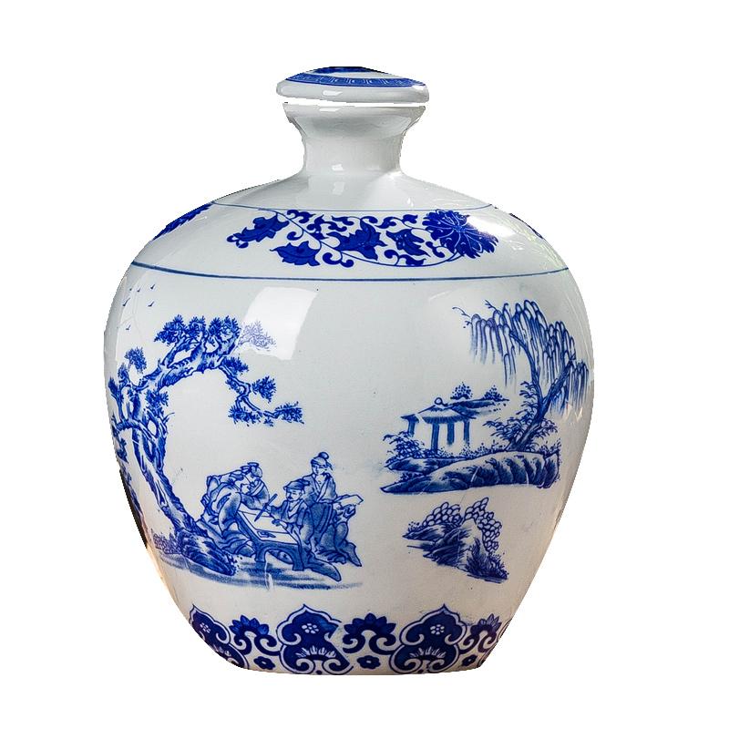陶瓷酒坛5斤 10斤景德镇陶瓷酒瓶 酒壶密封酒罐白瓶子 青花瓷酒具