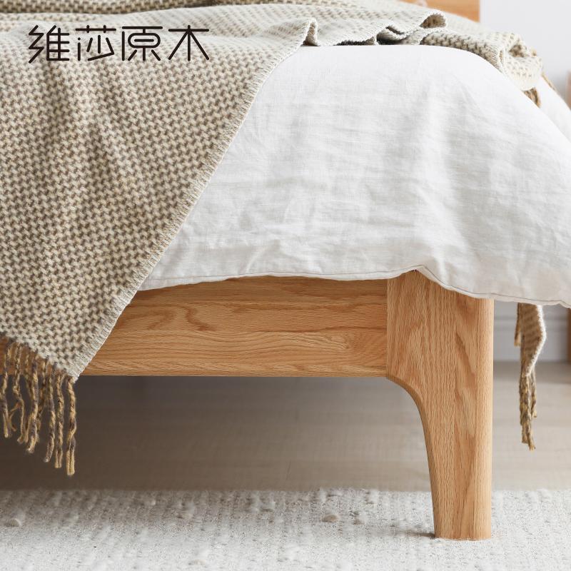 维莎日式1.5/1.8米实木床橡木双人床环保卧室家具北欧现代简约