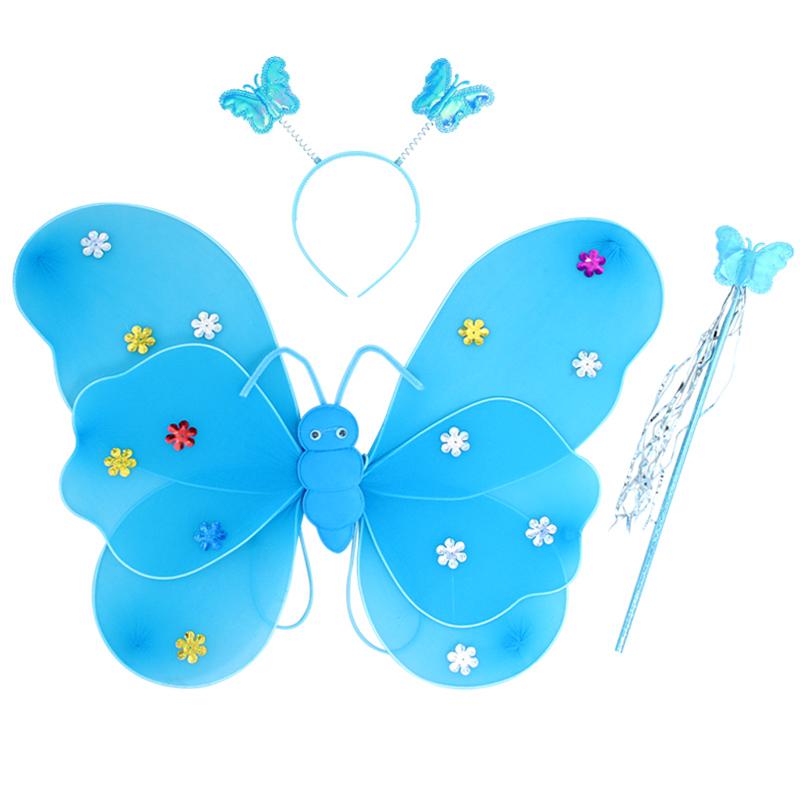 圣诞节演出服儿童幼儿园表演装扮女蝴蝶翅膀道具四件套天使仙女棒