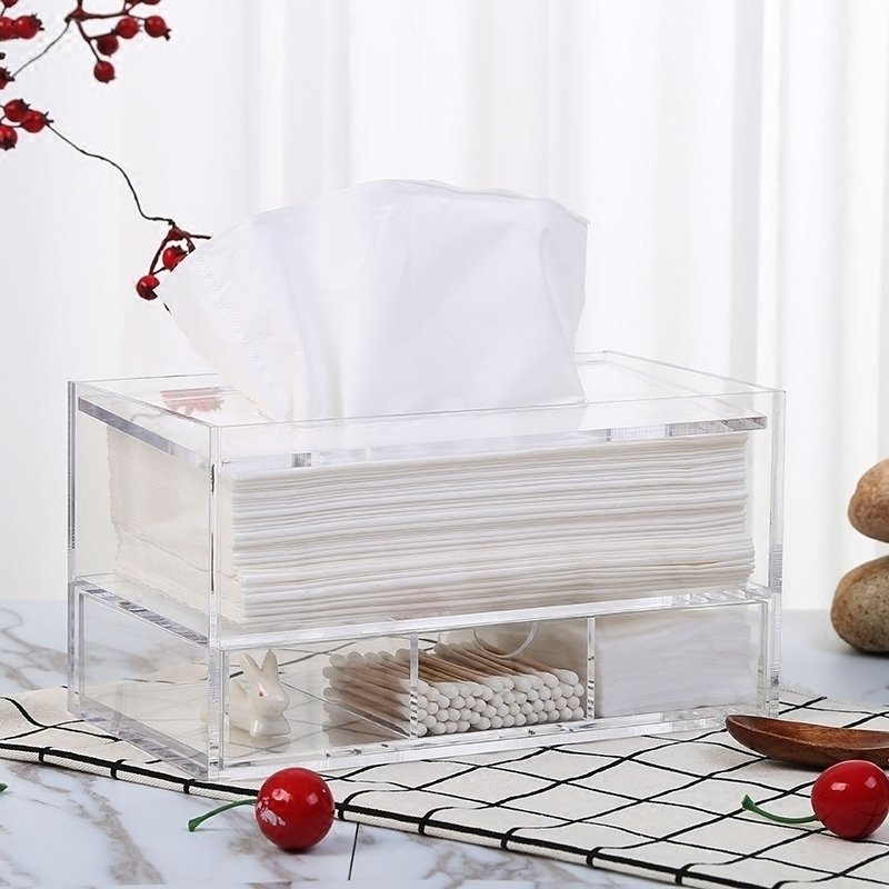高檔酒店亞克力創意多功能帶抽屜滑蓋紙巾盒化妝臺抽紙盒面紙盒
