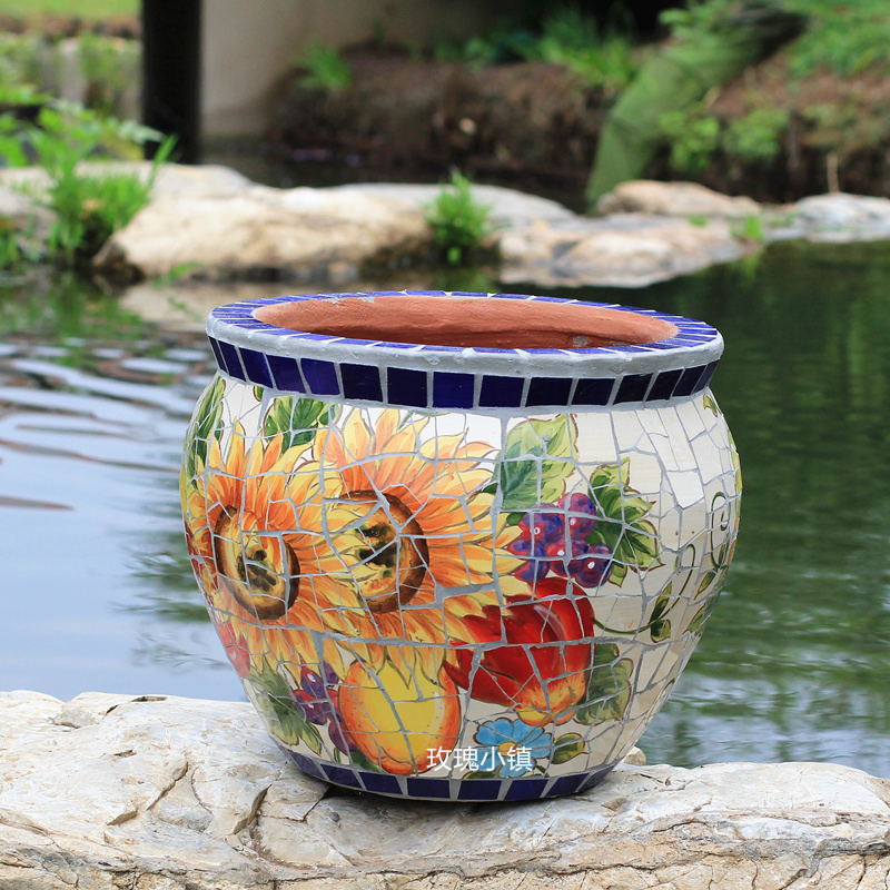 Brown Yellow Flowers Garden Cute Chic USA Vintage \u2022 Retro Crackle High Gloss Glazed Floral Sunflower Hand Painted Planter Pot