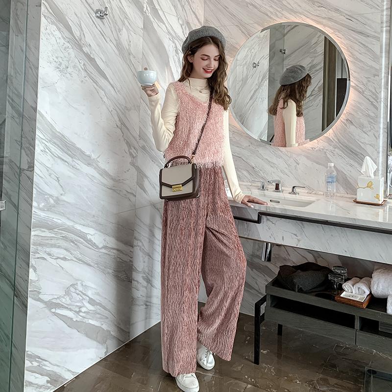 新款矮个子背心长袖打底衫阔腿裤洋气两件套 小象秋冬套装女 MG 2019