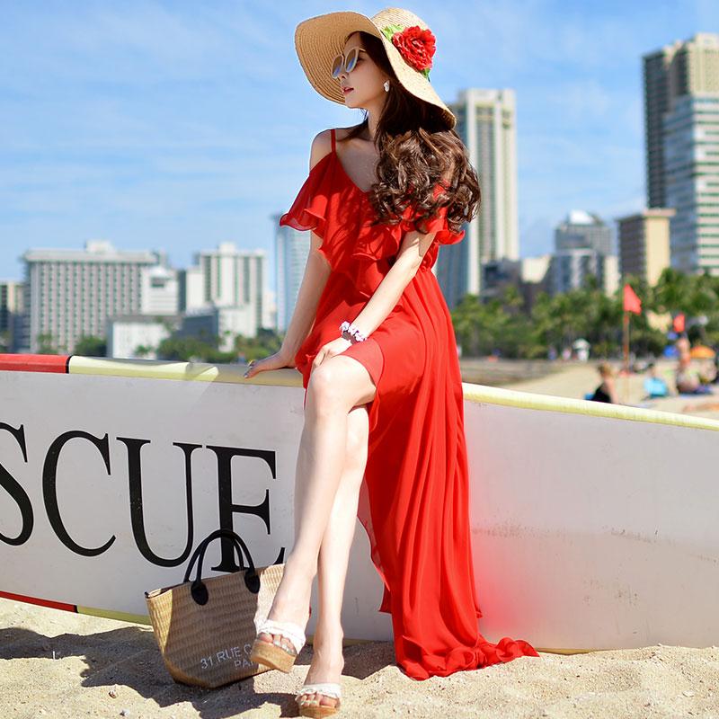 粉红大布娃娃红色连衣裙夏季女装性感露肩沙滩裙度假吊带雪纺长裙