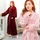 Autumn and winter thick long paragraph robe female flannel couple bathrobe men plus fat coral velvet pajamas XL home service
