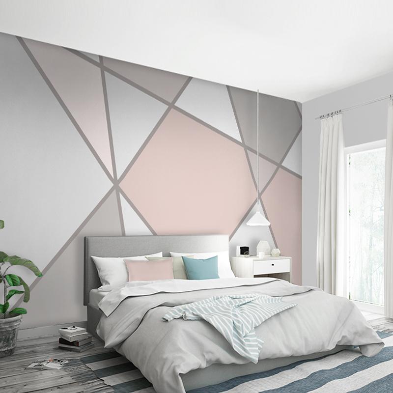 北欧几何图案壁纸风格简约现代粉灰色电视背景墙抽象壁画墙布墙纸