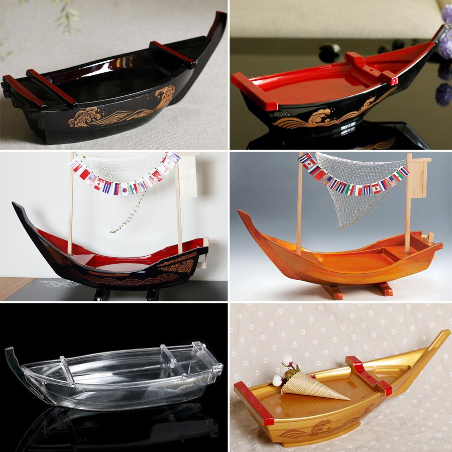 黑色壽司船刺身船乾冰料理船ABS三文魚盤刺身盤日式料理龍舟盛器