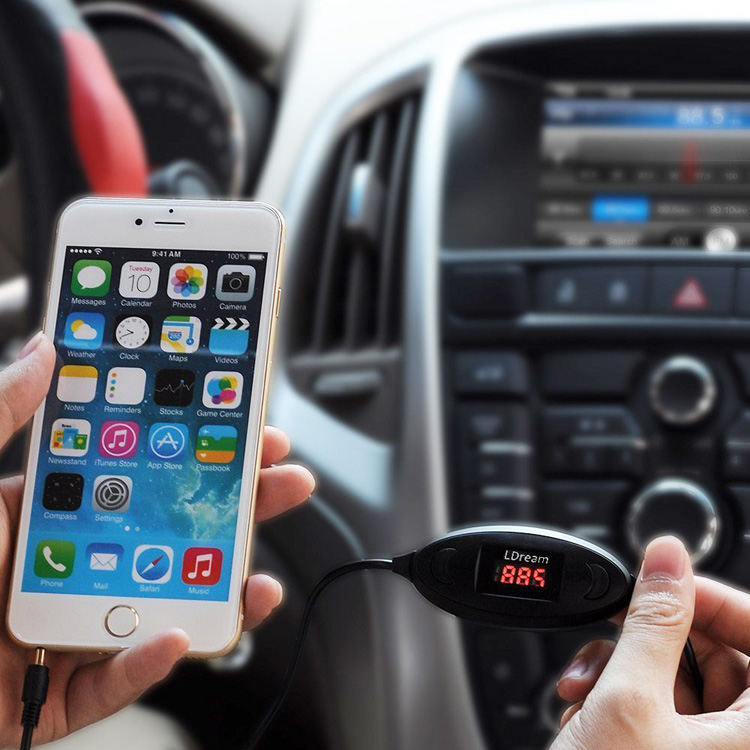Lda车载FM音频发射器,FM发射器MP3 立体声支持所有手机播放音乐