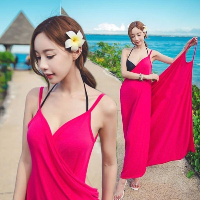 比基尼外套海邊度假泳衣外披波西米亞露背吊帶長裙沙灘裙裹裙浴巾