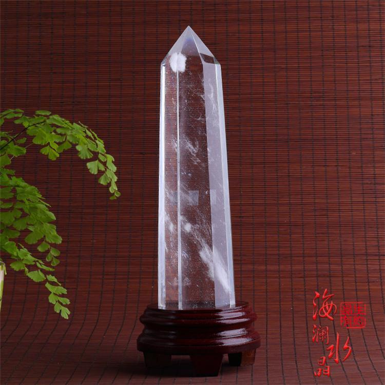 开光6A级天然水晶熔炼白色水晶柱白水晶柱风水摆件水晶柱镇宅旺财
