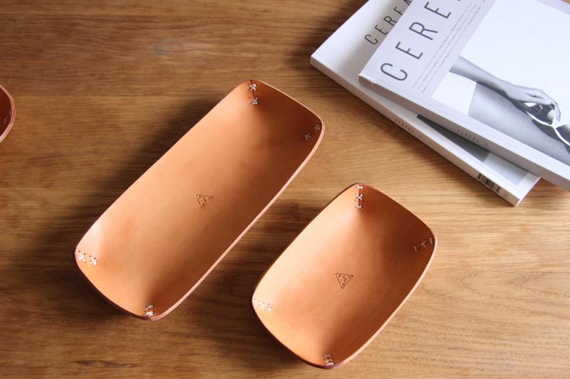禧緑皮貨手工制造 植鞣革牛皮碗桌面书架收纳盘置物储物陈列 扁盘